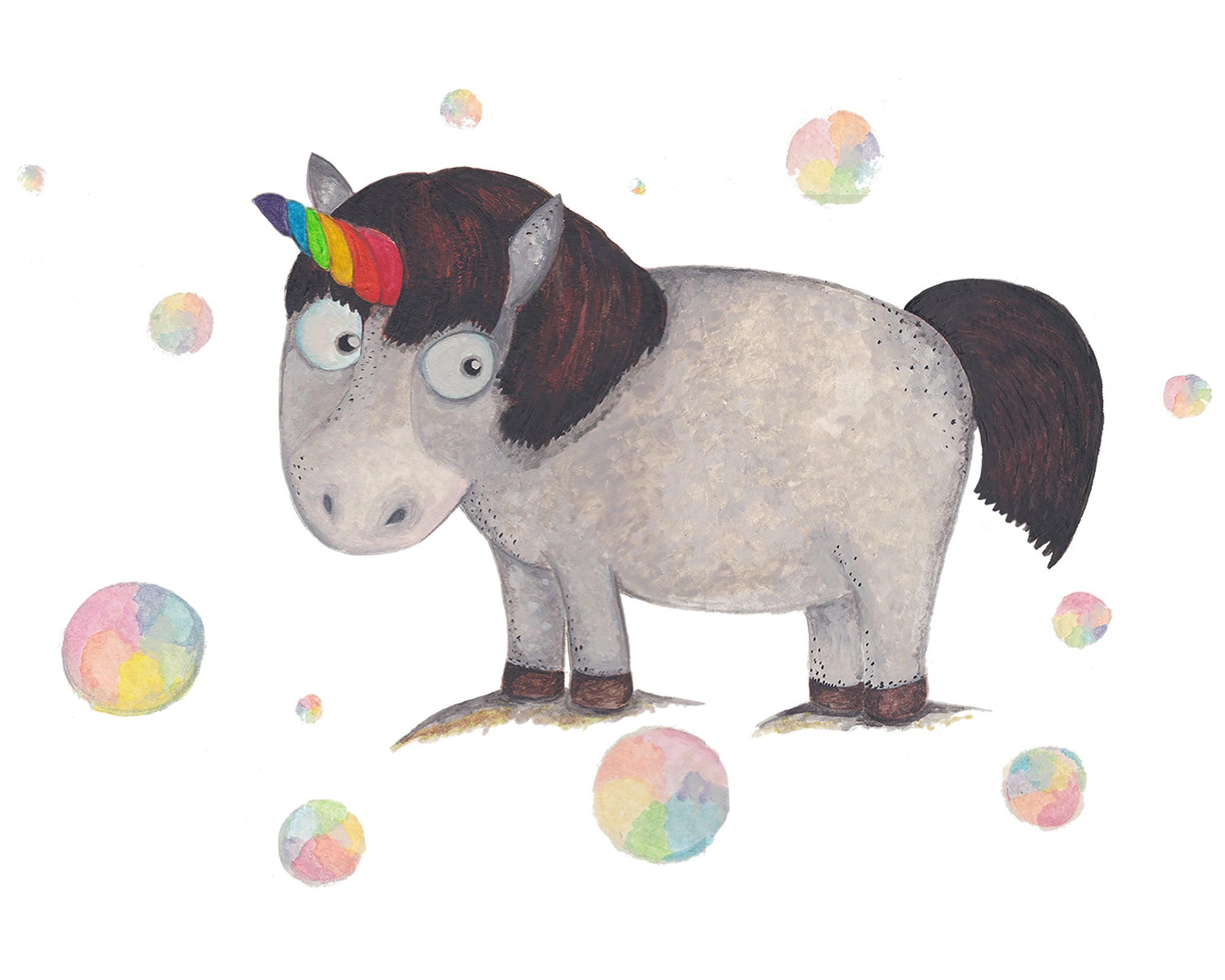 Unicorn Among Bubbles - Children's Greeting Cards