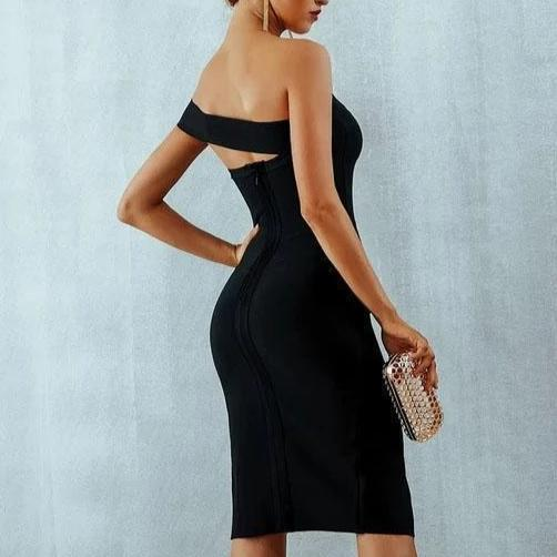 Alexa On Shoulder Slash Neck Bodycon Bandage Cocktail Dress