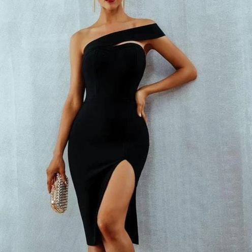 Alexa On Shoulder Slash Neck Bodycon Bandage Cocktail Dress Black/L