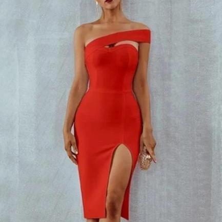 Alexa On Shoulder Slash Neck Bodycon Bandage Cocktail Dress Red/L