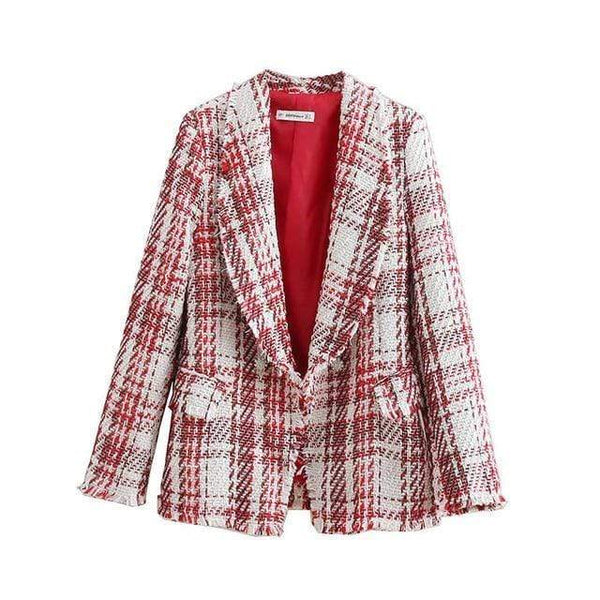 Amelia Vintage Frayed Tassel Tweed Plaid Blazer Red / Xs at Fashions Queen