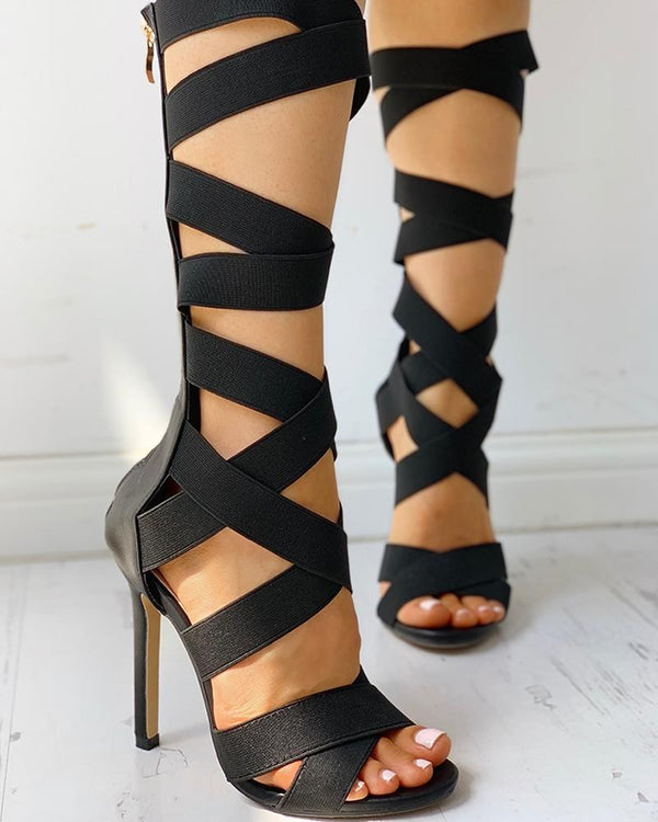 Bandage Lace-Up Zipper Back Cross Strap Heels ku Fashions Queen