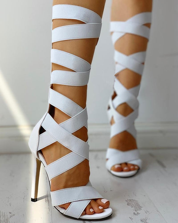 Bandage Lace-Up Zipper Back Cross Strap Heels-White at Fashions Queen