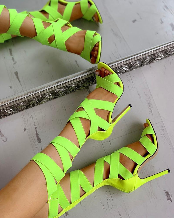 Bandage Lace-Up Zipper Back Cross Strap Heels-Yellow ku Fashions Queen