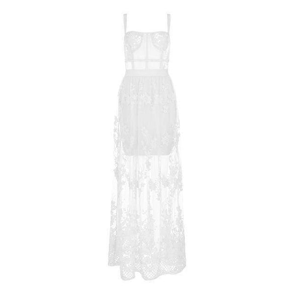 Beatrice Celebrity High Quality Lace Sleeveless Hollow Out Bandage Dress White / Xs at Fashions Queen
