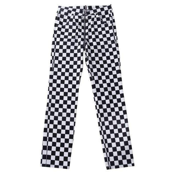 Black & White Plaid Checkered Zipper Pencil Casual Pants at Fashions Queen