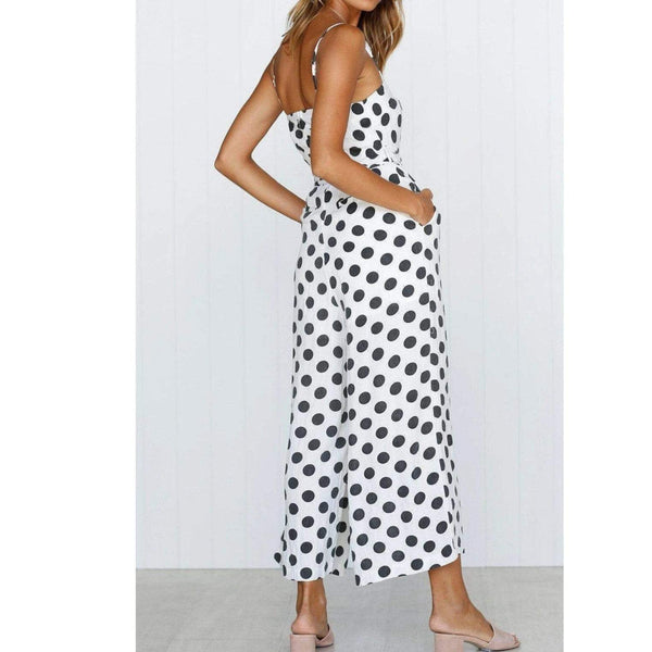 Black & White Polka Dot Strap Jumpsuit at Fashions Queen