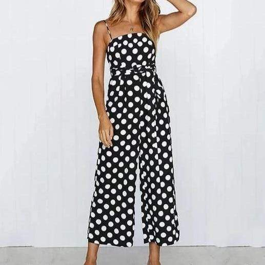 Black & White Polka Dot Strap Jumpsuit Black/L