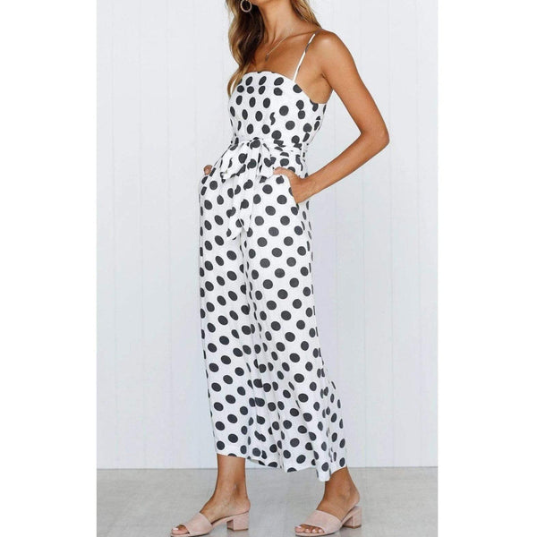 Black & White Polka Dot Strap Jumpsuit White / L at Fashions Queen