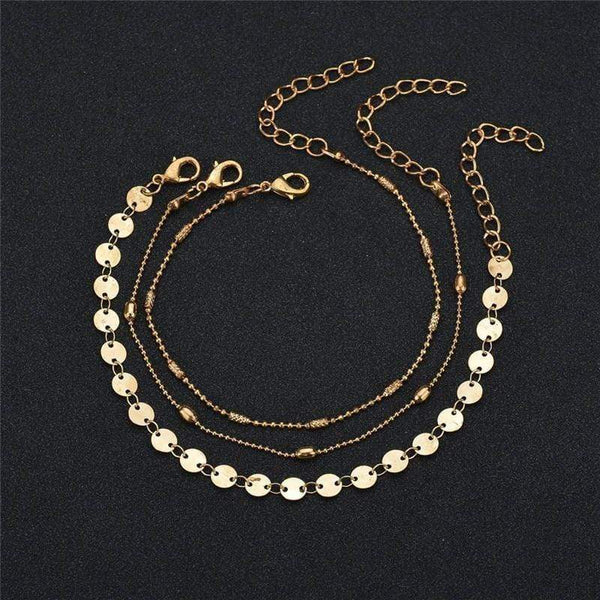 Bohemia Gold Color Retro Coin Anklets at Fashions Queen