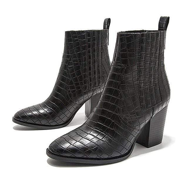Cocodrilo Motorcycle Western Cowboy Crocodile Leather High Heels Ankle Booties Shoes Black / 12 at Fashions Queen