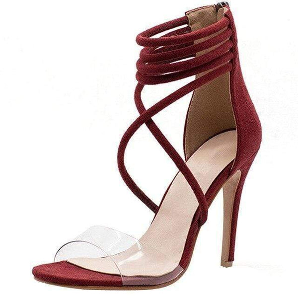 Criss Cross Clear Open Toe High Heels Back Zipper-Red at Fashions Queen