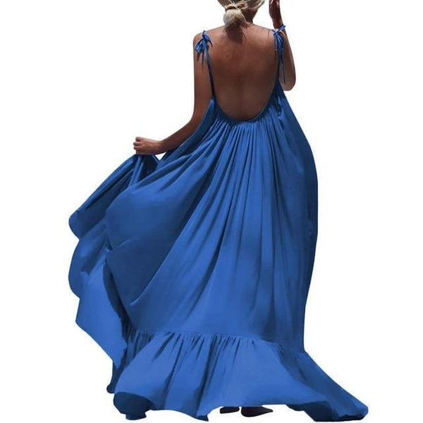 Ellie Spaghetti Strap Backless Maxi Dress Blue/L