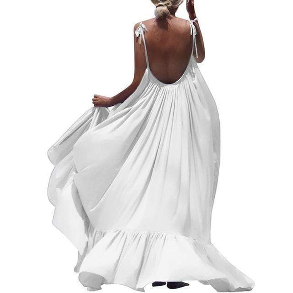 Ellie Spaghetti Strap Backless Maxi Dress White/L