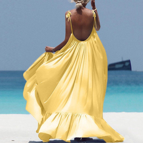 Ellie Spaghetti Strap Backless Maxi Dress Yellow/L
