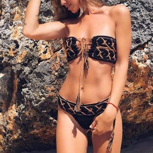 Emery Tassel Sunsuit Two Piece Bikini Black / S at Fashions Queen
