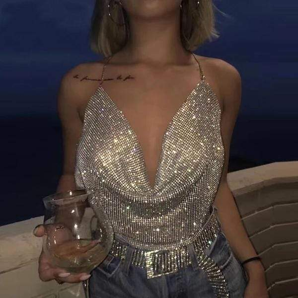 Emma Brilliant Rhinestone Backless Party Crop Top at Fashions Queen