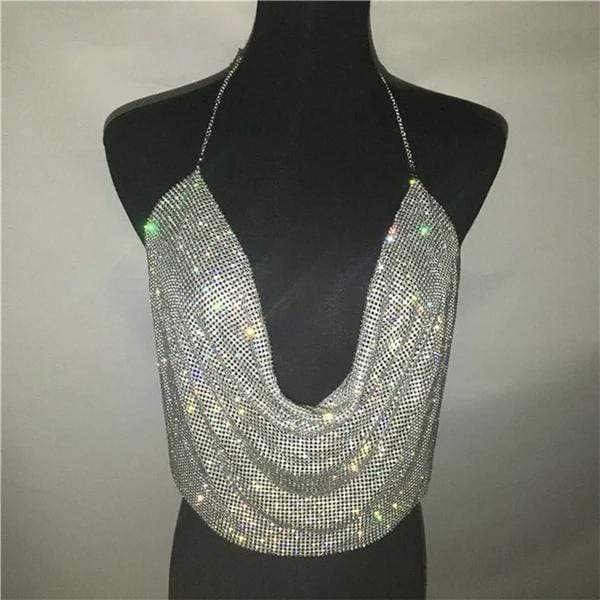 Emma Brilliant Rhinestone Backless Party Crop Top Silver / One Size at Fashions Queen