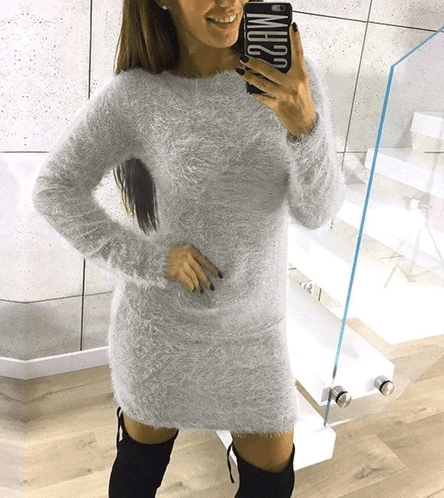 Fuzzy Soft Round Neck Mini Warm Sweater-Gray at Fashions Queen