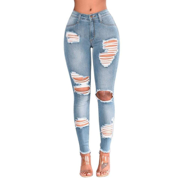 Garcia High Waist Knee Holes Skinny Denim Jeans at Fashions Queen