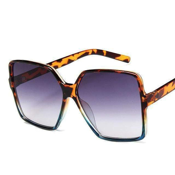 Garciela Oversized Square Sunglasses Leopard Voilet at Fashions Queen