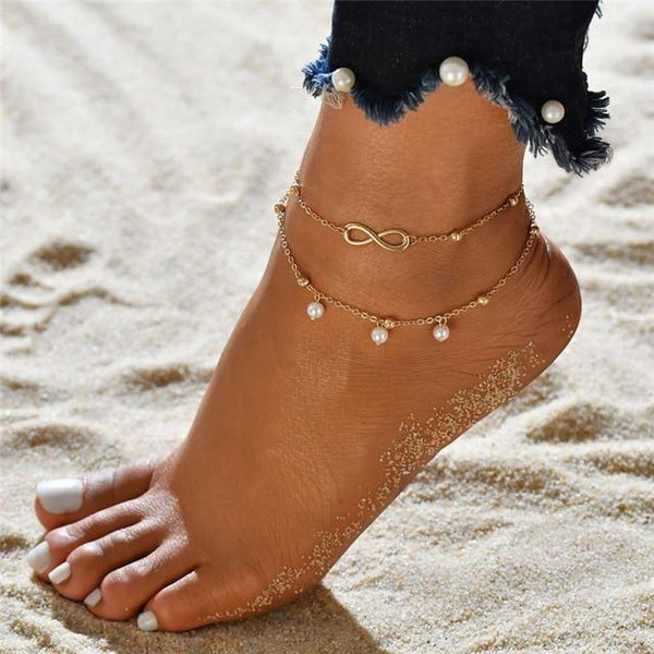 Giovanna Three Piece Anklets Gold Beads at Fashions Queen