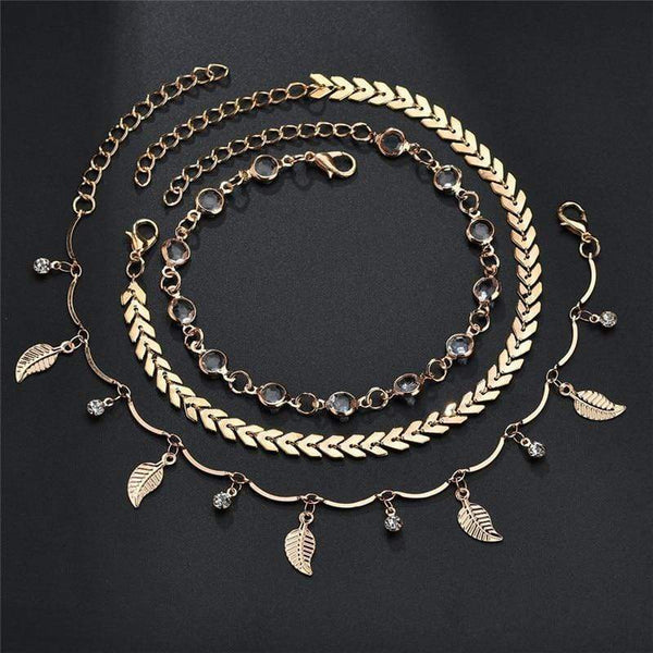 Giovanna Three Piece Anklets Gold Mixed at Fashions Queen