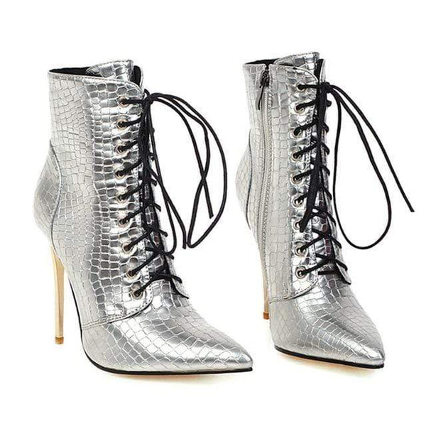 Glamorous Leapord & Crocodile Print 10cm Pointed Toe Ankle High Heels Shoes Boots Silver/10.5