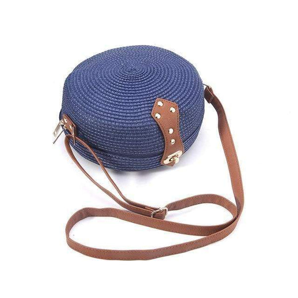 Jasmine Straw Woven Messenger Beach Bag Blue / M at Fashions Queen
