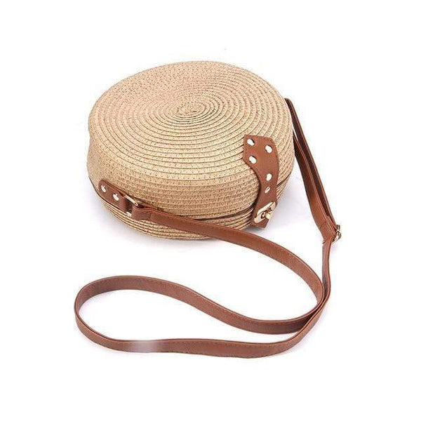 Jasmine Straw Woven Messenger Beach Bag Brown / M at Fashions Queen