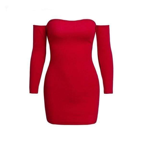 Karen Off Shoulder Bodycon Sweater Knitted Red / S at Fashions Queen