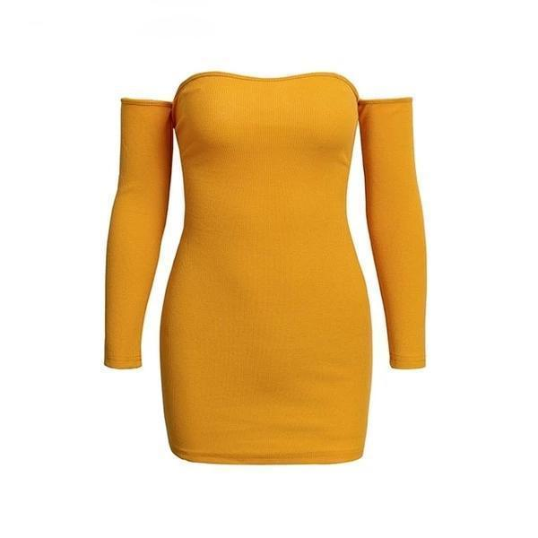Karen Off Shoulder Bodycon Sweater Knitted Yellow / S at Fashions Queen