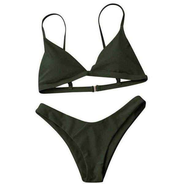 Keep It Real Bikini Set Army Green / S at Fashions Queen