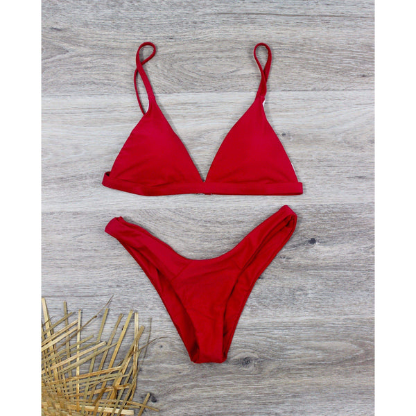 Keep It Real Bikini Set Red / L at Fashions Queen