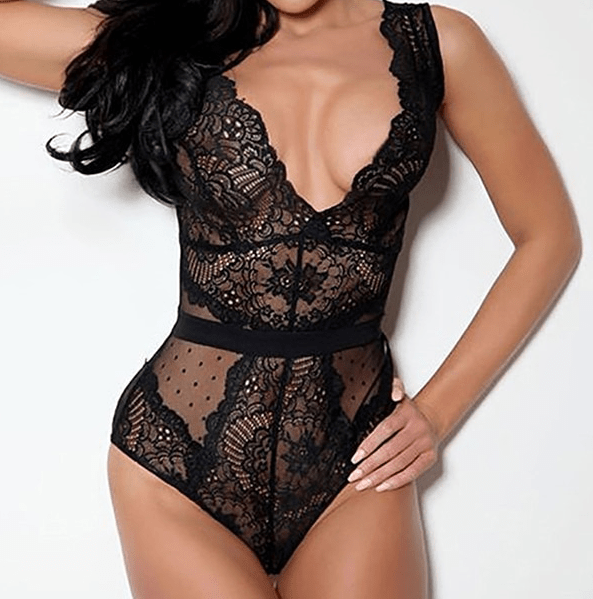 Lace Bodysuit Floral Embroidery Sexy One Piece Swimsuits at Fashions Queen