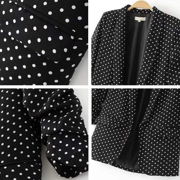 Lucy Casual Sleeve Office Ladies Blazer Black And White / S at Fashions Queen