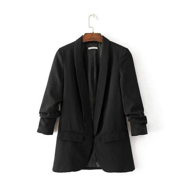 Lucy Casual Sleeve Office Ladies Blazer Black / S at Fashions Queen
