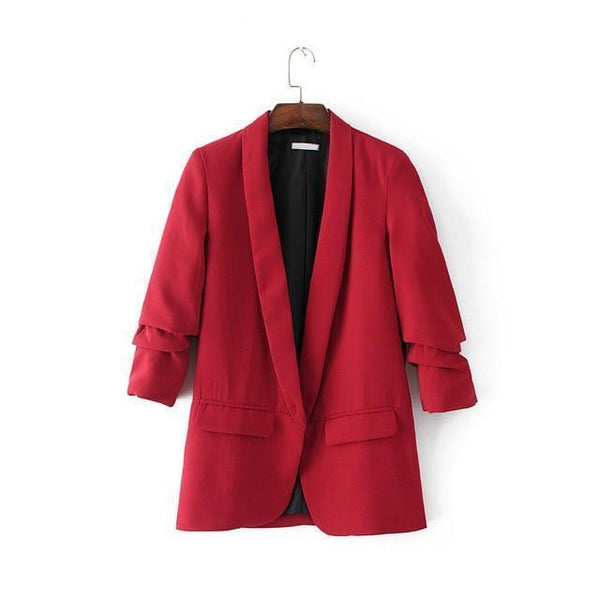 Lucy Casual Sleeve Office Ladies Blazer Red / S at Fashions Queen