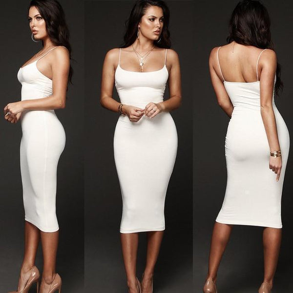 Melody Bodycon Slim Short Midi Dress White / S at Fashions Queen