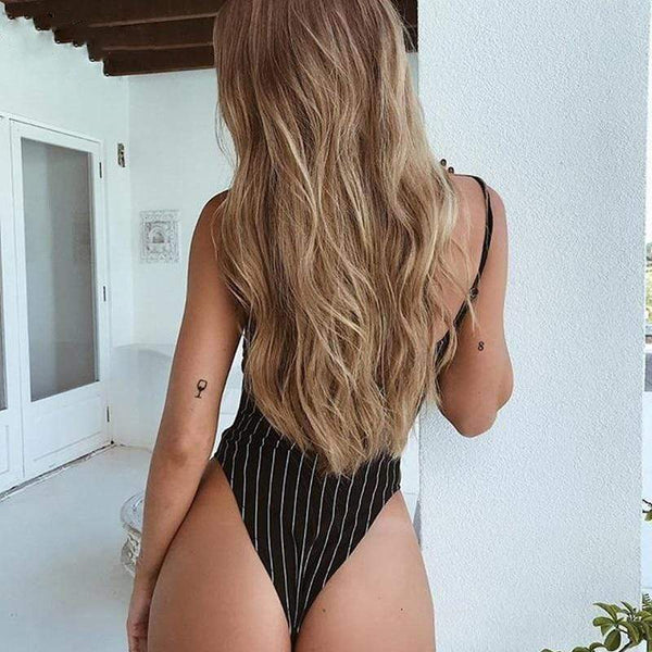 Naira Backless Striped Spaghetti Straps Top Bodysuits at Fashions Queen