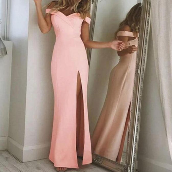 Noemi Off Shoulder Strapless Maxi Dress Pink / S at Fashions Queen