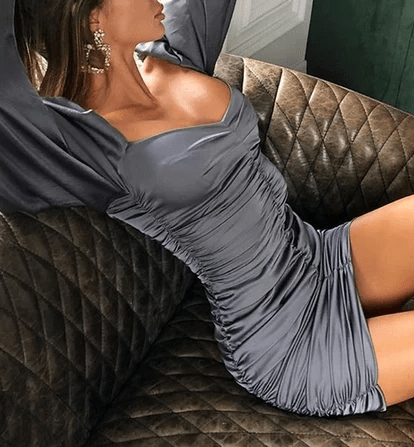 Off Shoulder Ruched Satin Bodycon Dress at Fashions Queen