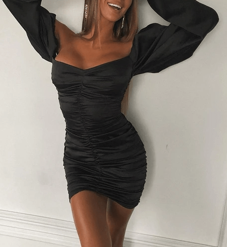 Off Shoulder Ruched Satin Bodycon Dress-Black at Fashions Queen