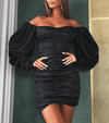 Off Shoulder Ruched Satin Bodycon Dress-Black
