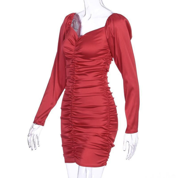 Off Shoulder Ruched Satin Bodycon Dress-Red at Fashions Queen