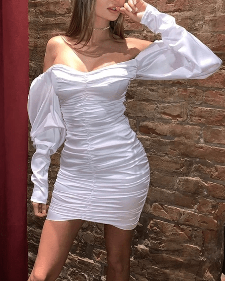 Off Shoulder Ruched Satin Bodycon Dress-White at Fashions Queen