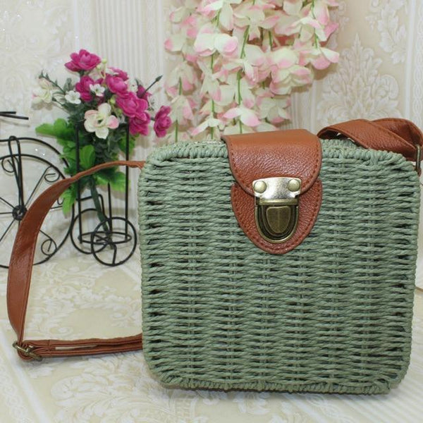 Olalla Rattan Straw Bag Square Handbag Army Green / S at Fashions Queen