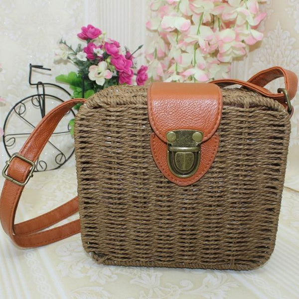 Olalla Rattan Straw Bag Square Handbag Brown / S at Fashions Queen