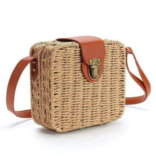Olalla Rattan Straw Bag Square Handbag Camel / S at Fashions Queen