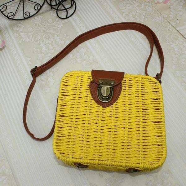 Olalla Rattan Straw Bag Square Handbag Yellow / S at Fashions Queen